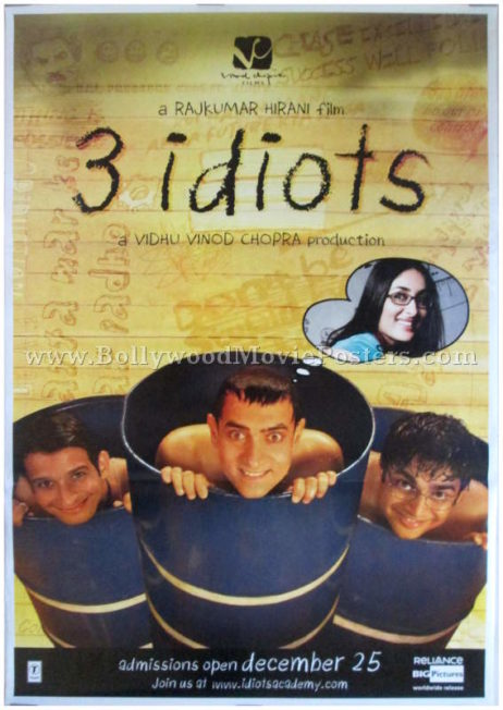 3 Idiots movie poster Aamir Khan