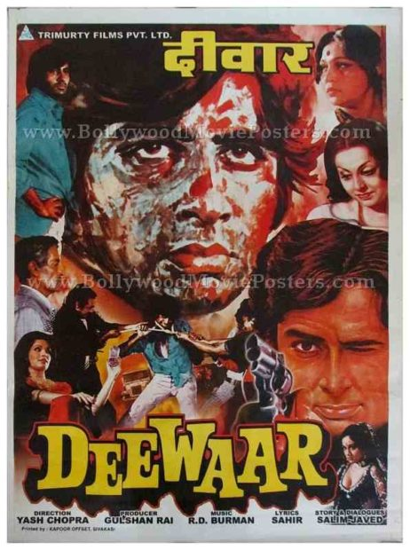 Deewaar Amitabh Mere Paas Maa Hai original hand painted Bollywood movie posters