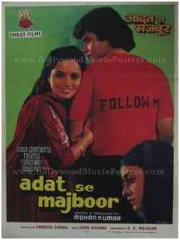 Aadat Se Majboor 1982 Mithun Chakraborty old bollywood movie posters for sale