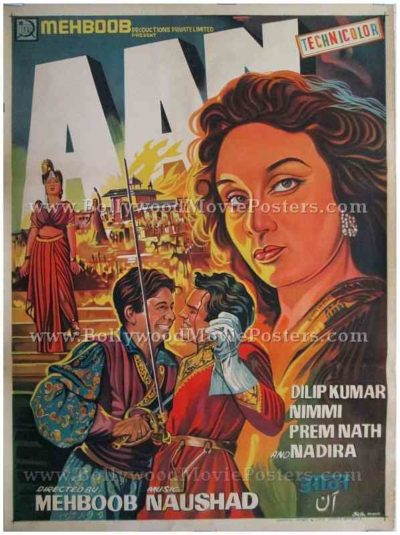 Aan 1952 Dilip Kumar Nadira old hand painted Bollywood posters photos for sale