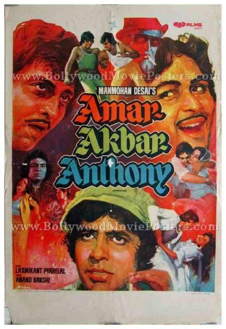 Amar Akbar Anthony original old vintage Amitabh Bachchan Bollywood film posters