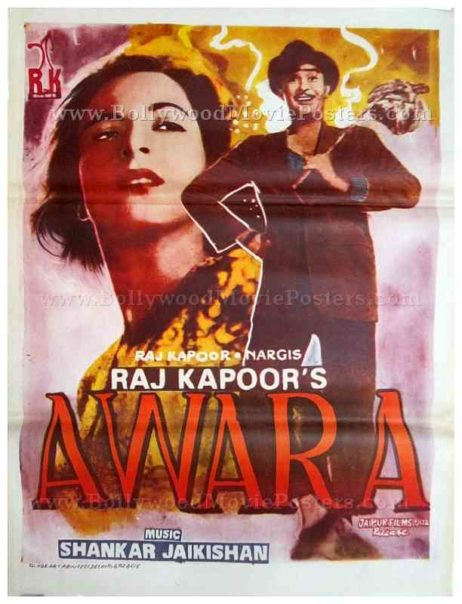 Awara Raj Kapoor Nargis old hand painted vintage Bollywood movie posters for sale
