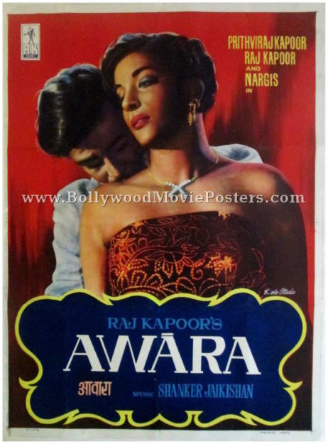 Awara movie poster Raj Kapoor Nargis old 1951 film vintage Bollywood