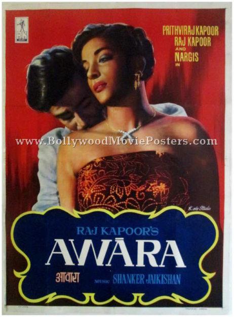 Awara movie poster Raj Kapoor Nargis old 1951 film vintage Bollywood