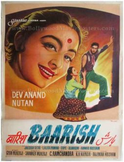 Baarish Dev Anand Nutan old vintage hand drawn Bollywood movie posters for sale