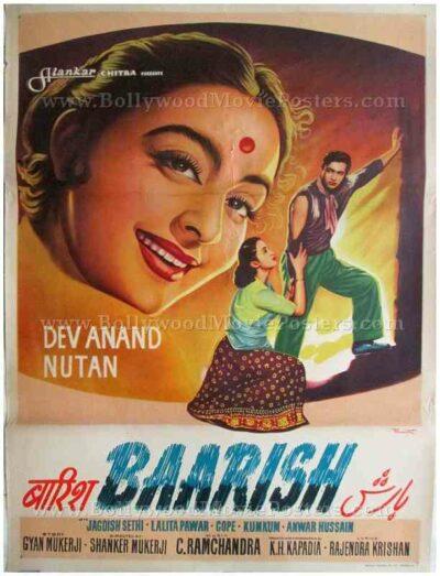 Baarish Dev Anand Nutan old vintage hand drawn Bollywood movie posters for sale