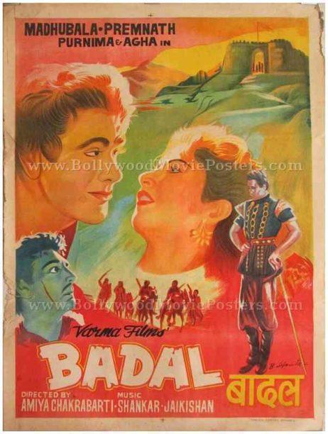 Badal 1951 hand painted Bollywood madhubala posters online