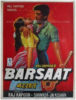 Barsaat 1949 Raj Kapoor Nargis hand painted Bollywood movie film posters painted by SM Pandit