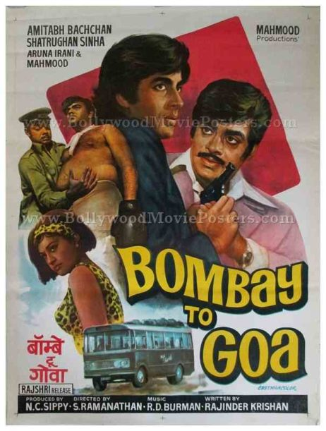 Bombay to Goa old Amitabh hand painted vintage Bollywood movie posters for sale