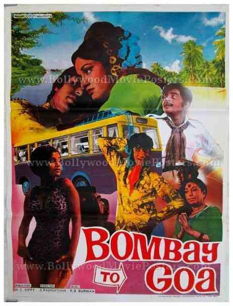 Bombay to Goa Amitabh Bachchan old hand painted vintage Bollywood movie posters for sale