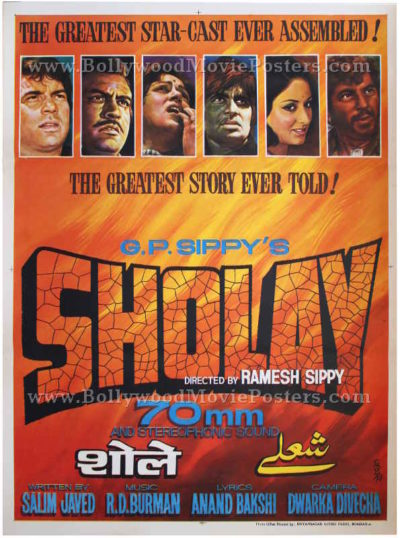Buy Sholay 1975 film posters original hand painted vintage Bollywood