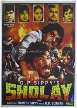 Buy Sholay original movie poster 1975 Hindi film high resolution