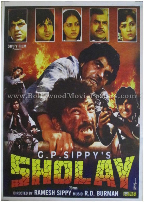 Buy Sholay original movie poster 1975 Hindi film high resolution