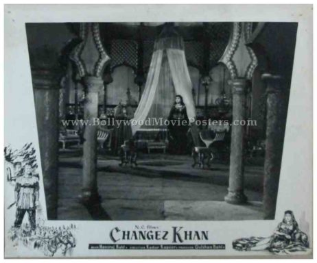 Changez Khan 1957 old bollywood movie black and white pictures photos stills lobby cards