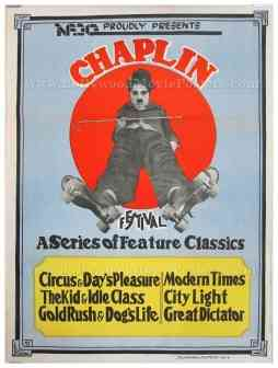 Charlie Chaplin Festival original old vintage Hollywood movie posters for sale