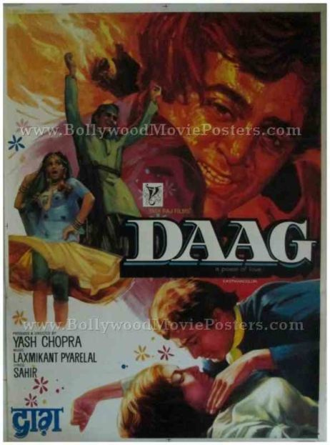 Daag 1973 hand painted drawn hindi bollywood movie posters