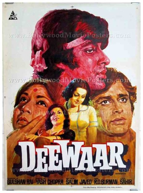 Deewaar Amitabh Bachchan old vintage hand painted original Bollywood movie posters for sale in Mumbai, India