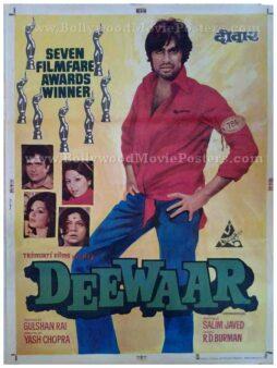 Deewaar old Amitabh original hand painted Bollywood movie posters for sale