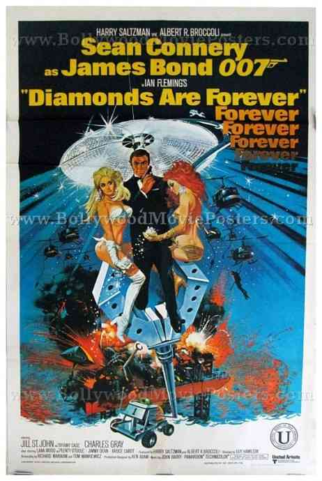 Diamonds are forever sean connery original old vintage hand painted international 007 james bond posters for sale