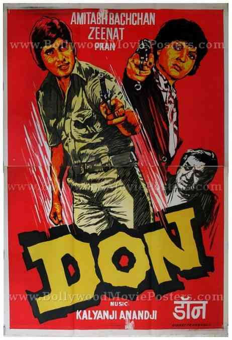 Don 1978 Amitabh old vintage hand drawn Bollywood movie posters for sale