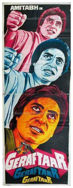 Geraftaar Amitabh old vintage hand painted Bollywood movie posters for sale in India