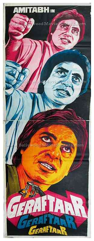 Geraftaar Amitabh old vintage hand painted Bollywood movie posters for sale in India
