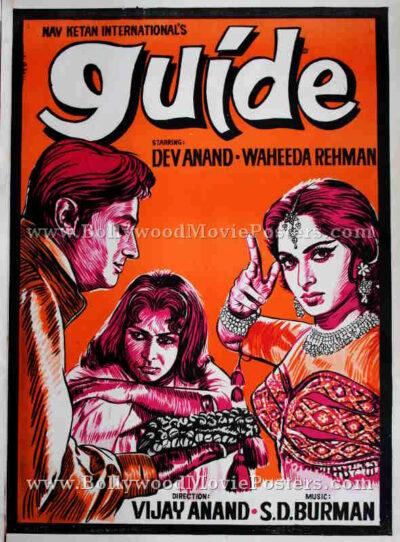 Guide Waheeda Rehman Dev Anand original Bollywood handmade painted posters