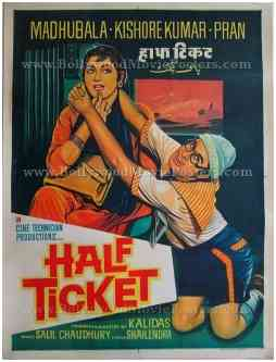Half Ticket 1962 madhubala kishore kumar posters online for sale