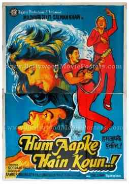 Hum Aapke Hain Koun HAHK Salman Khan Madhuri Dixit hand painted bollywood movie posters