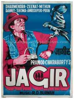 Jagir Dharmendra old vintage hand drawn Bollywood posters for sale
