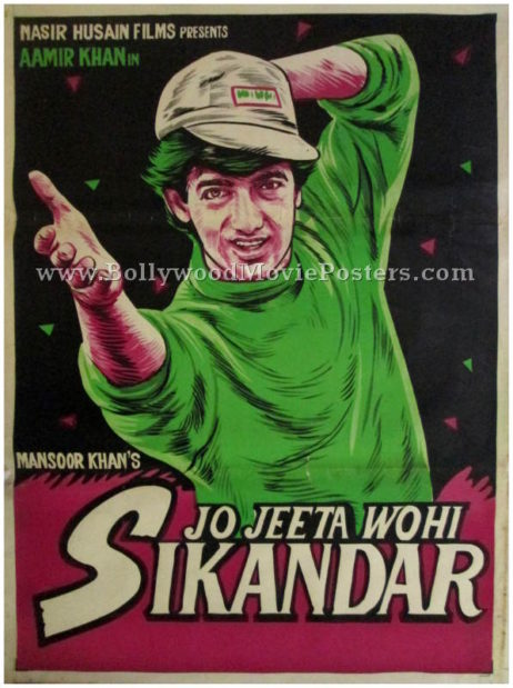 Jo Jeeta Wohi Sikandar movie poster aamir khan hand painted bollywood art