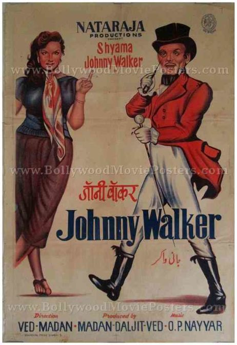Johnny Walker 1957 Shyama Tony Walker Indian funny Hindi comedy movies posters