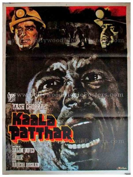 Kaala Patthar Amitabh Bachchan old hand painted vintage Bollywood movie posters for sale