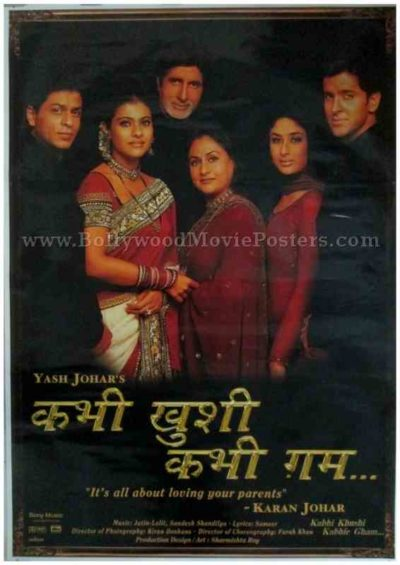 Kabhi Khushi Kabhie Gham K3G Hindi movie poster shahrukh khan buy online