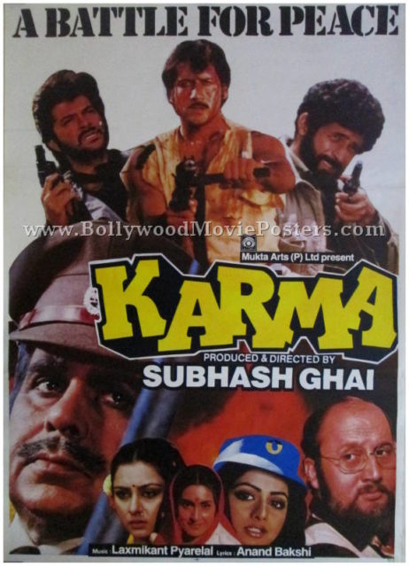 Karma 1986 Dilip Kumar buy old bollywood movie posters online