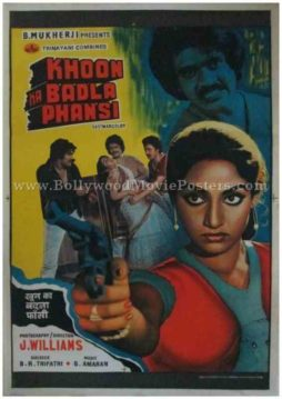 Khoon Ka Badla Phansi 1986 old vintage bollywood posters for sale online usa