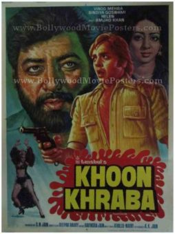 Khoon Kharaba 1980 old vintage bollywood posters for sale online usa