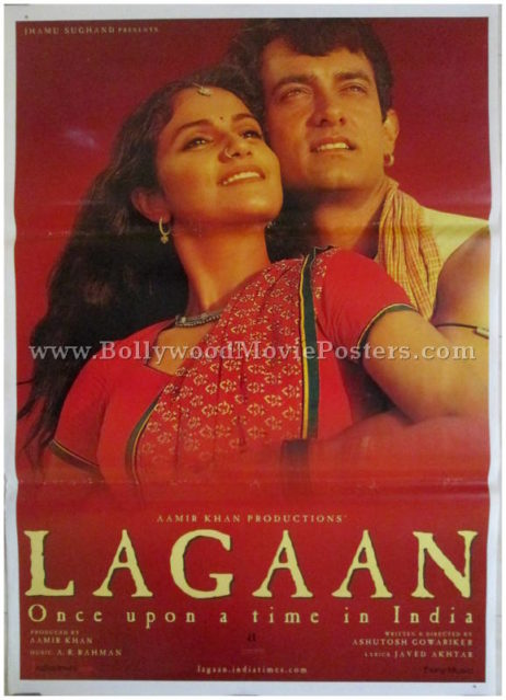 Lagaan movie poster Aamir Khan Gracy Singh