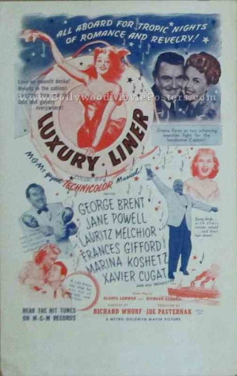 Luxury Liner 1948 old vintage movie handbills for sale online in US, UK, Mumbai, India