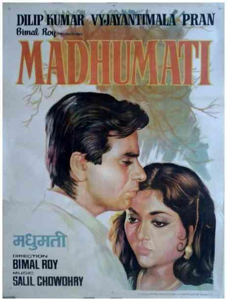 Madhumati 1958 Bimal Roy Dilip Kumar old Bollywood movie posters
