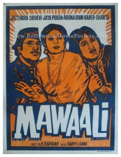 Mawaali 1983 hand drawn bollywood film movie posters