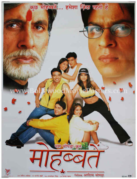 Mohabbatein Hindi movie poster Shahrukh Khan Amitabh film