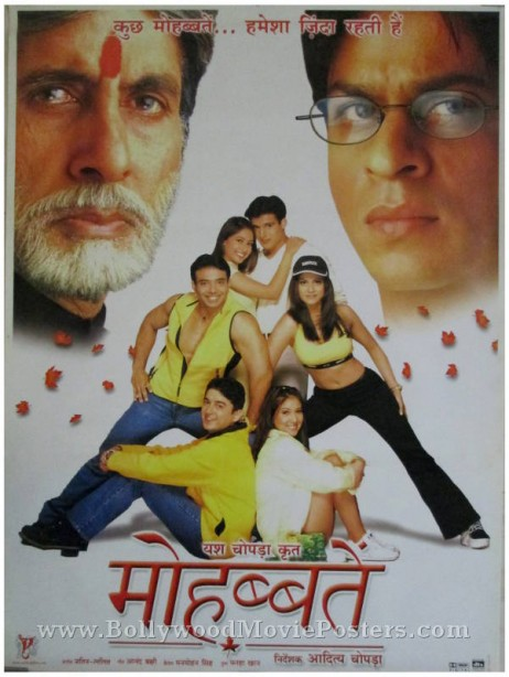 mohabbatein hindi movie film poster shahrukh khan amitabh
