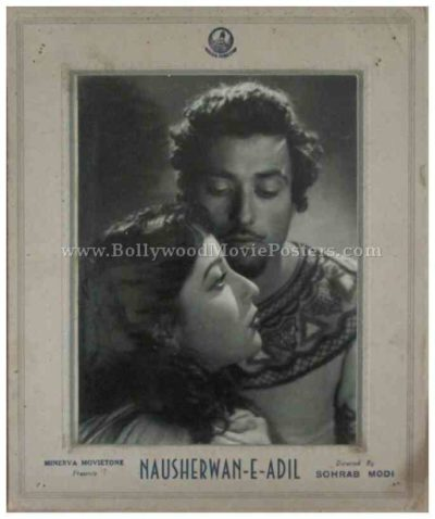 Nausherwan-E-Adil Sohrab Modi old bollywood black and white photos movie stills lobby cards