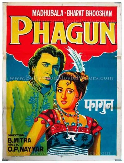 Phagun old Madhubala vintage hand painted Bollywood movie posters for sale