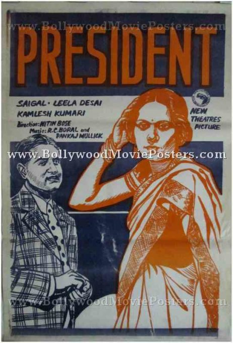 President 1937 old vintage indian film movie posters for sale