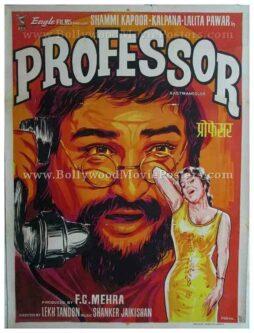 Professor 1962 Shammi Kapoor hand painted old vintage bollywood movie posters india