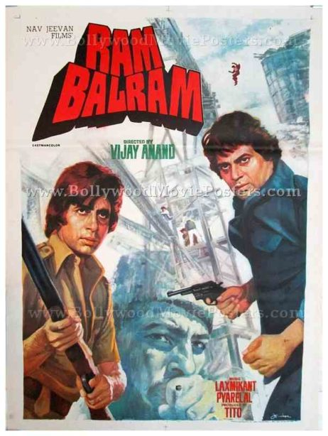 Ram Balram 1980 Amitabh Bachchan Dharmendra old hand drawn Bollywood posters for sale
