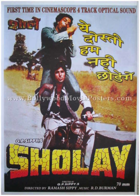Sholay film poster 1975 old Bollywood movie for sale