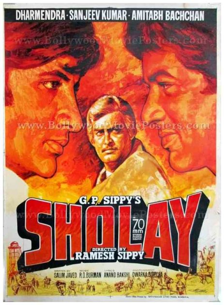 Sholay hand drawn old painted Indian movie posters for sale